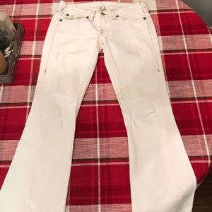"White True Religion ""Joey"" Flare Jeans."